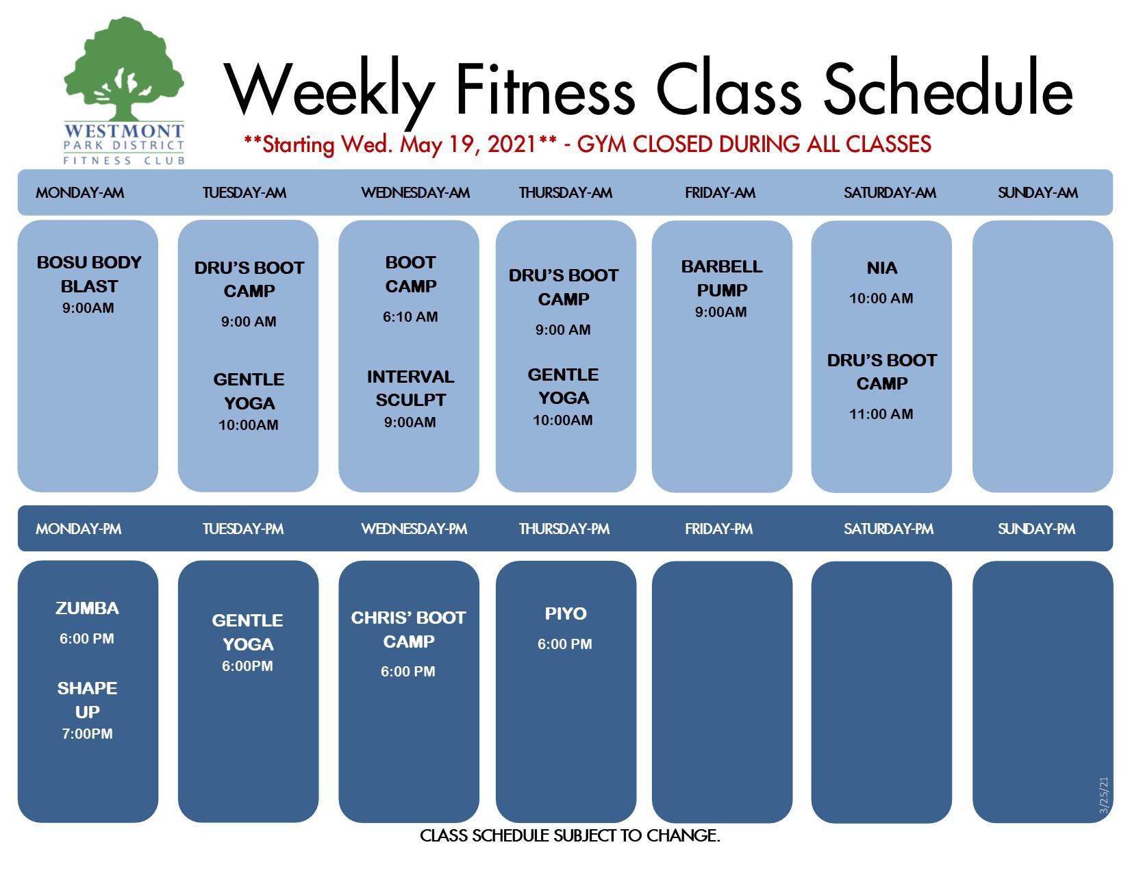 fitness program schedule