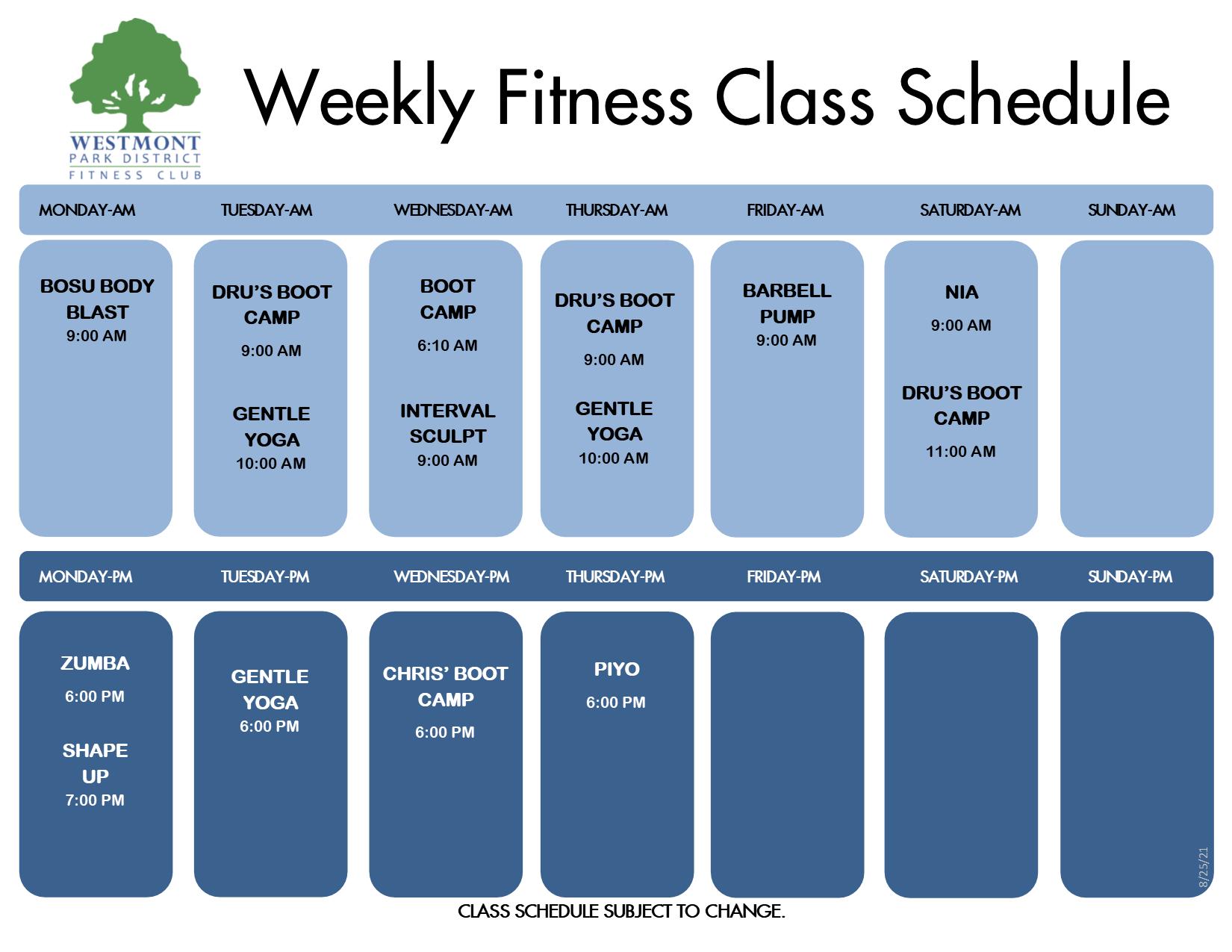fitness class schedule 9-3